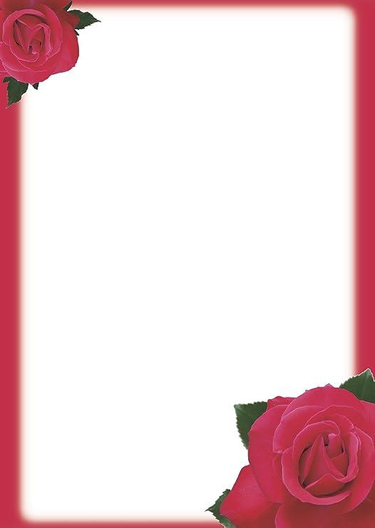 Umschl/äge DIN LANG mit Fenster Motivpapier Komplett-Set BACCARA ROSEN Briefpapier 80g//m/² mit abgerundeten Ecken 20-tlg