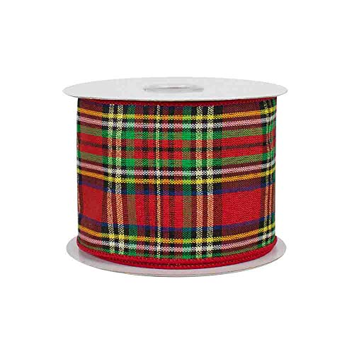 "Bright Holiday Tartan Wired Ribbon - 2 1/2"" x 10 Yards, Christmas Ribbon, Winter Decor, Birthday, Rustic Wedding Decoration, Mother"