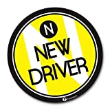 """New driver reflective bumper magnet- - Zone Tech Premium Quality Reflective """"New Driver"""" Vehicle Bumper Safety Sign Round Magnet"""