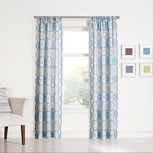 No. 918 Callie Medallion Print Rod Pocket Curtain Panel, 40″ x 84″, Lapis Blue