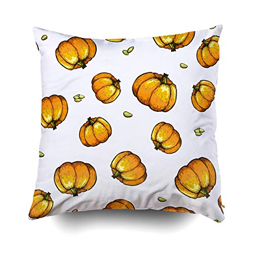 EMMTEEY Home Decor Throw Pillowcase for Sofa Cushion Cover,Halloween Colorful Pumpkin Sketch Pattern Decorative Square Accent Zippered and Double Sided Printing Pillow Case Covers 16X16Inch