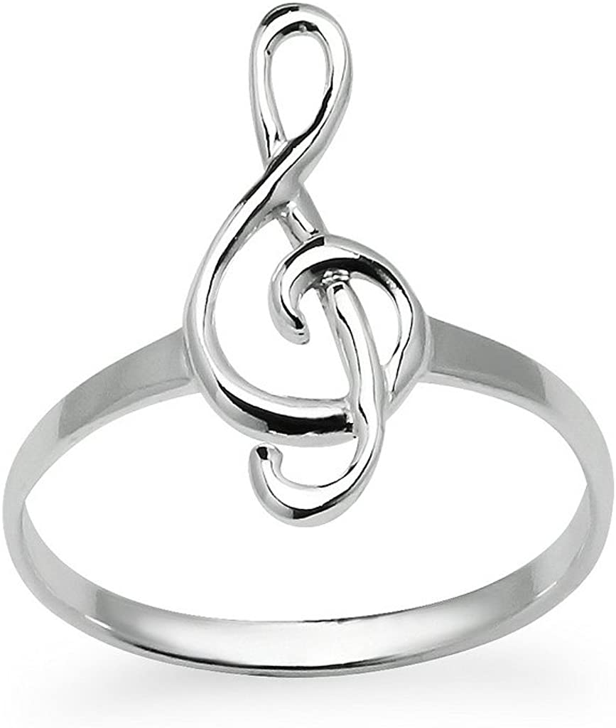 Sterling Silver Music Note Ring Treble Clef Friendship Band Sizes 5 to 12