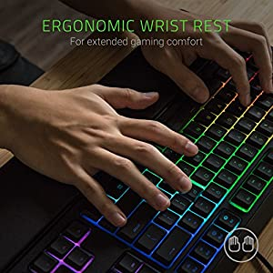 Razer Ornata Chroma Gaming Keyboard: Hybrid Mechanical Key Switches – Customizable Chroma RGB Lighting – Individuallly Backlit Keys – Detachable Plush Wrist Rest – Programmable Macro Functionality