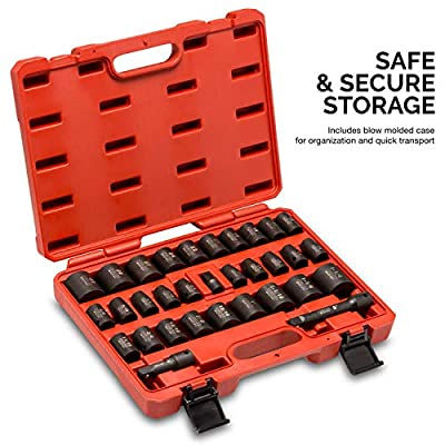 Neiko 02447A 1/2-Inch Drive Shallow Impact Socket Set with Extension Bars, 32-Piece | SAE (3/8