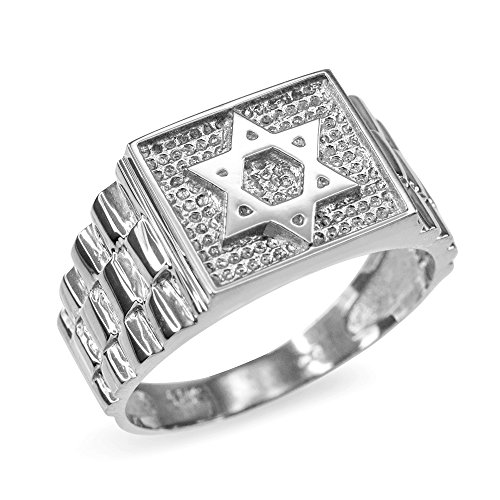 Jewish Star of David Ring for Men in Textured 10k White Gold (Size 14)