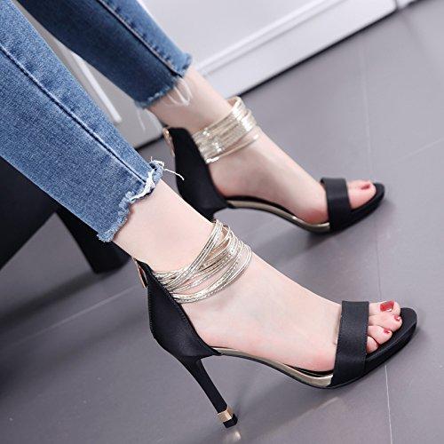 La Palabra Con una multa con sandalias temperamento de la manera Todo-Fósforo de zapatos de tacón alto Black