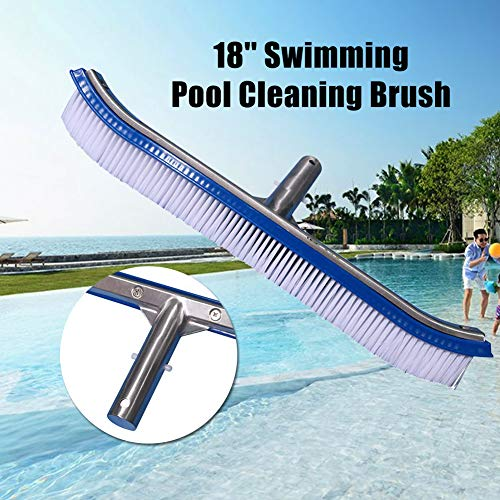 - Maserfaliw 18'' Swimming Pool Cleaning Brush with Aluminum Handle Pool Wall Brush Cleaning Tools for Pond SPA Wall Cleaner Tool