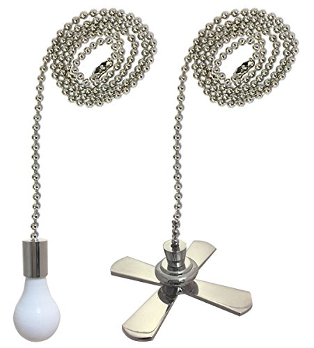 (Royal Designs Fan and Light Bulb Shaped Pull Chain Set - Nickel Plated, One Pair)