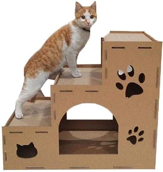 Viñedo Escalera para Mascotas, escaleras para Perros y Gatos Que suben la Arena para Gatos Casa de Mascotas Plataforma de Salto con Alimentos para Gatos Protección del Medio Ambiente: Amazon.es: Hogar