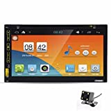 Morrivoe 2 Din 6.95 Inch Android 4.4 Quad Core CPU HD 1080P TFT LCD Touch Screen Bluetooth In Dash Vehicle Car Audio Video Stereo CD/DVD/VCD/MP3/MP4 Player with USB/SD/AUX Input,3D GPS Navigation,FM/AM Radio,Remote Control,Steering Wheel Control,Hands-free Calls + Free Rear Parking Camera