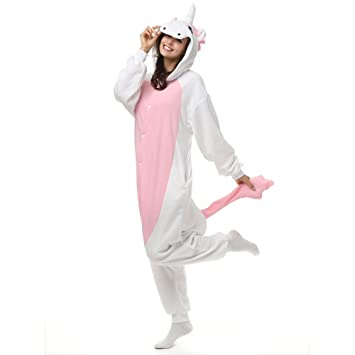 8c21242a4 Adult Pink Unicorn Onesie Polar Fleece Pajamas Cartoon Sleepwear Animal  Halloween Cosplay Costume Unisex (S (Height 4'10-5'2)): Amazon.co.uk: Toys  & Games