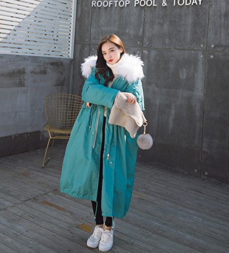 Xuanku Winter Loose Loose Long Canvas Thickening Cotton Clothing Cotton Large Size Army Big Collar Collar Cotton Jacket Jacket blue