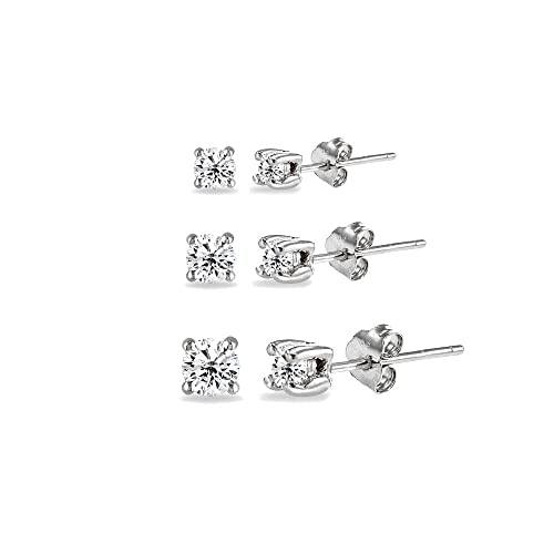 8ea5469ad Amazon.com: 3 Pair Set Sterling Silver Cubic Zirconia Round Stud Earrings,  2mm 3mm 4mm: Jewelry