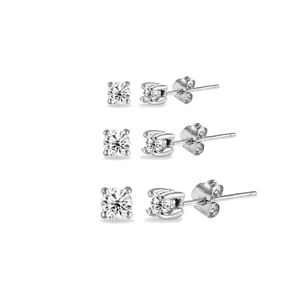 3 Pair Set Sterling Silver Cubic Zirconia Round Stud Earrings, 2mm 3mm 4mm