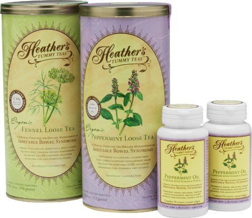 Heather's Irritable Bowel Syndrome Special Herb Kit - Loose Fennel Can, Loose Peppermint Can, Peppermint Oil Caps (All 20% Off!)