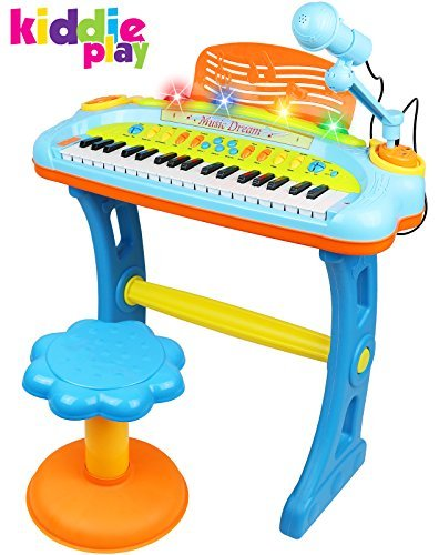 Kiddie Play Electronic 37-Key Toy Piano Keyboard for Kids with Real Working Microphone, Colorful Lights and Stool (Without USB)