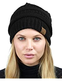 Unisex Chunky Soft Stretch Cable Knit Warm Fuzzy Lined Skully Beanie