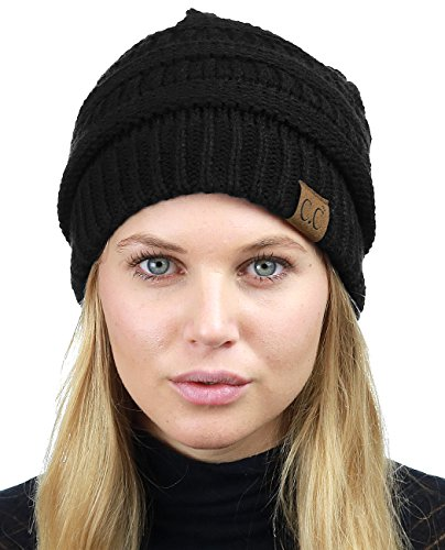 C.C Unisex Chunky Soft Stretch Cable Knit Warm Fuzzy Lined Skully Beanie, Black