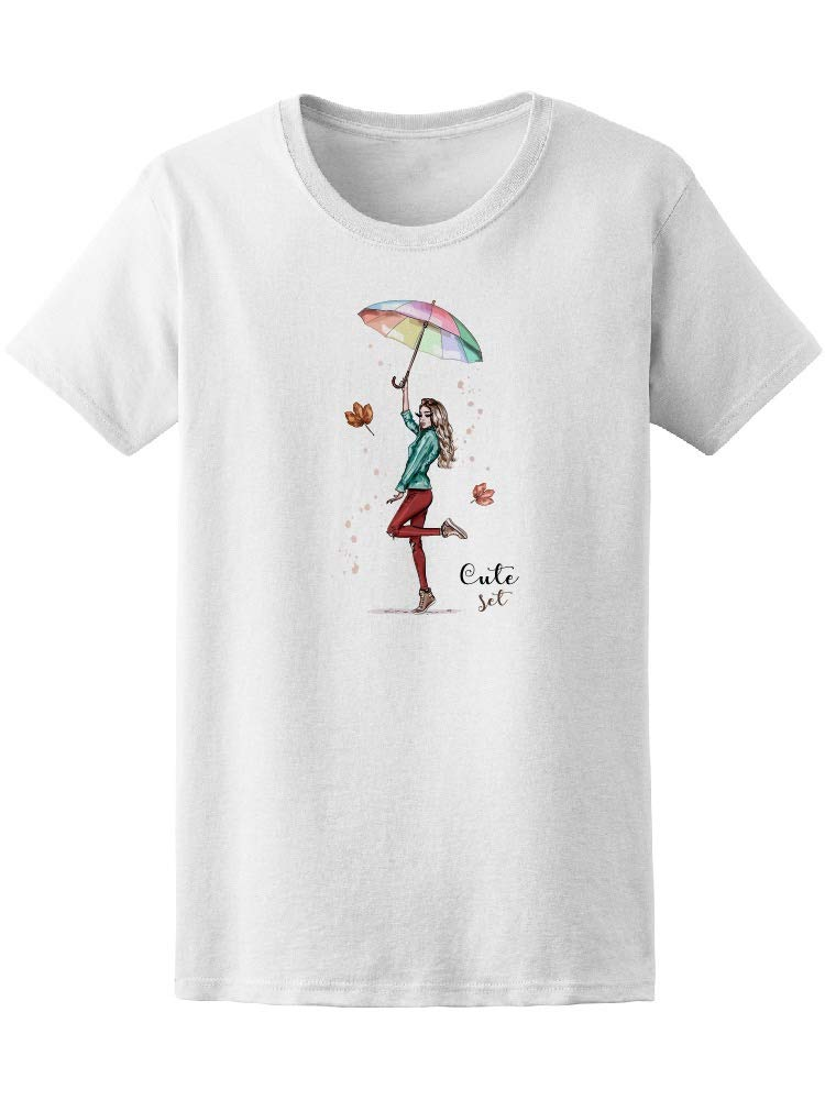 Colorful Stylish Umbrella Rain Women's Tee - Image by Shutterstock