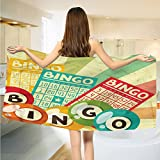 alisoso Vintage Bath Towels Bingo Game with Ball and Cards Pop Art Stylized Lottery Hobby Celebration Theme extra large Towels Multicolor