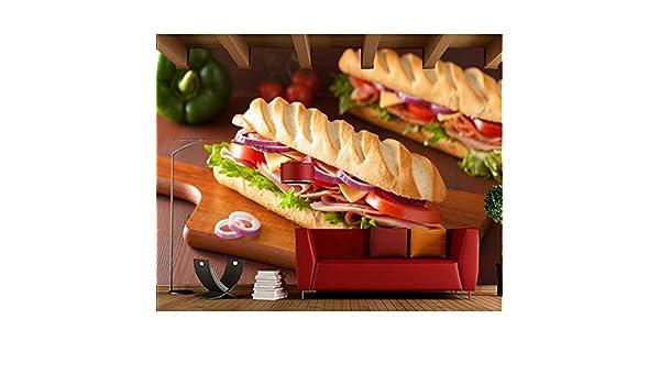 Xbwy Pan Sándwich Jamón Tomates Comida Papel Tapiz 3D, Tienda De ...