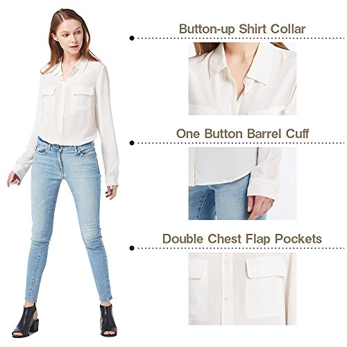 Momme LILYSILK Classique Femme Chemise Blanc Soie Longues Naturel Chic Chic Chemisier Casual Manches t Top Naturelle 18 Blouse Shirt rqargwYW