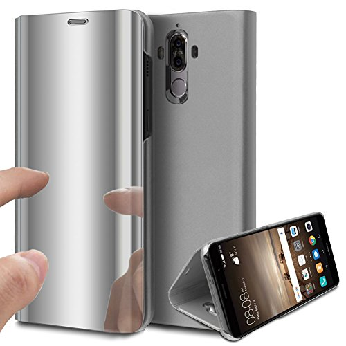 Price comparison product image Huawei Mate 10 Pro Case, Huawei Mate 10 Pro Cover, ikasus Ultra-Slim Luxury Plating Mirror Makeup Case Cover PU Leather Flip Stand Kickstand Protective Case Cover for Huawei Mate 10 Pro, Silver
