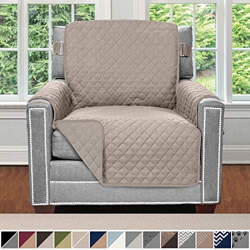 Sofa Shield Original Patent Pending Reversible Chair Protector for Seat Width up to 23 Inch, Furniture Slipcover, 2 Inch Strap, Chairs Slip Cover Throw for Pet Dogs, Cats, Armchair, Light Taupe