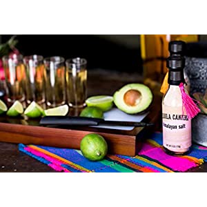Tequila Cantina Mas Fina! A Set of Four Tequila Sipping Shot Glasses, Flavored Gourmet Sea Salts & Sel De Mer Himalayan, Salt Dishes, Wood Tequila w/Cutting Board & Ceramic Knife for Limes
