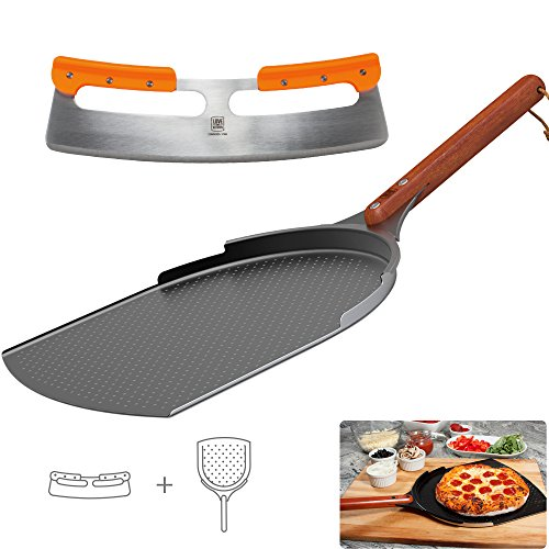 "The Ultimate Pizza Making Tools – 14"" Aluminum Pizza Peel and 14"" Stainless Steel Rocker Pizza Cutter 