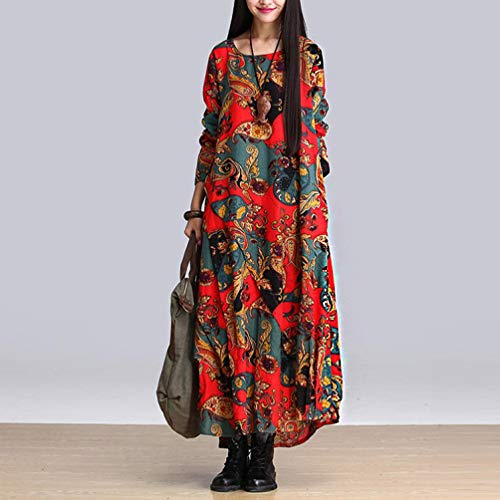 Red Plus Linen Long Loose Splicing Cotton Dress Women And Printing Size wBxvqcdH