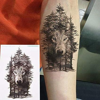 HXMAN 3 Unids Impermeable Tatuaje Temporal Pegatina Lobo Bosque ...