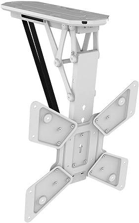 Mywall Hl12wml Klappbarer Motorisierter Deckenhalter Für Flachbildschirme 23 55 Zoll 58 140cm Bis 30 Kg Weiß Heimkino Tv Video