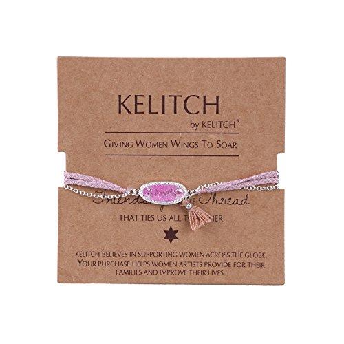 KELITCH Handmade Crystal Gemstone Bracelet Tassel Fringe Braided Silver-plated Chain Bangle - Pink (Tassel Plated)
