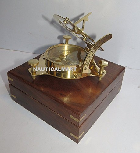 Sundial Nautical - Captain Brass Sundial Compass with Hardwood Wooden Box