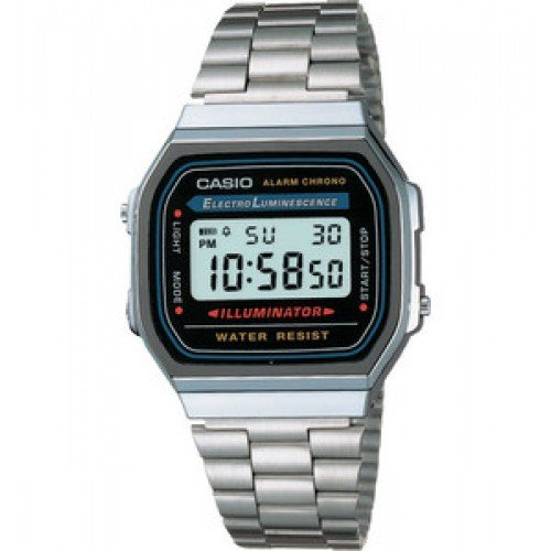 CASIO A168WA-1A - Reloj digital unisex con correa de acero inoxidable: Amazon.es: Relojes