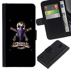 SAMSUNG Galaxy S4 IV / i9500 / SGH-i337 , la tarjeta de Crédito Slots PU Funda de cuero Monedero caso cubierta de piel ( Gangster Skull Headscarf Guns Black)