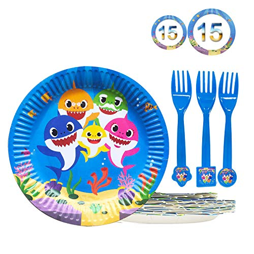 Cheapest Prices! 45 Baby Cute Shark Party Dessert Set, Birthday Party Plates, 15pcs 9 Inch + 15pcs 7 Inch Cake paper Plates, 15 pcs shark forks – Birthady Party Supplies for Shark Party Tableware Doo Doo Decorations
