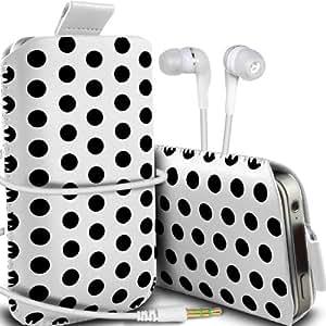 Nokia Lumia 720 Protección Premium Polka PU ficha de extracción Slip In Pouch Pocket Cordón piel cubierta de la caja de liberación rápida y de 3,5 mm para auriculares auriculares Auriculares de Blanco y Negro por Spyrox