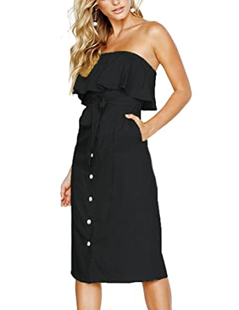 92baaf70b771 Women Summer Strapless Ruffled Off Shoulder Solid Pleated Dresses Button  Down Tie Waist Casual Midi Dress