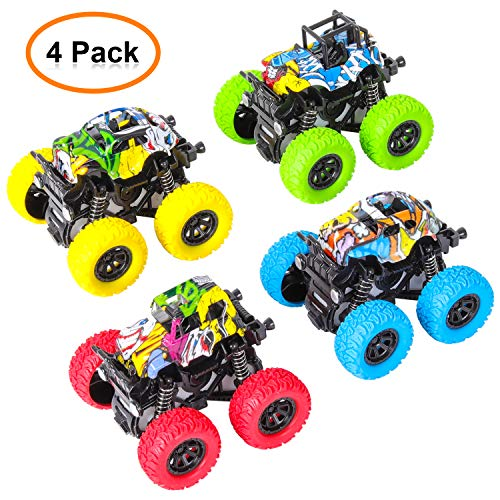 (M SANMERSEN Monster Cars Toys, Pull Back Off-Road Vehicle 4 Wheels Drive Trucks Toys with Damping Spring / 360 Degree Rotation Car Set - 4 Pack)