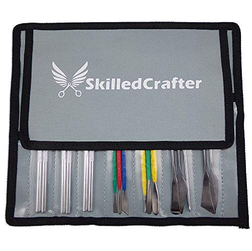 Skilled Crafter Pottery Tools & Carry Case. 28 Stainless Steel & Aluminum Clay Modeling & Sculpting Tools in 17 Piece Set. Professional Quality. + Free Needle Tool