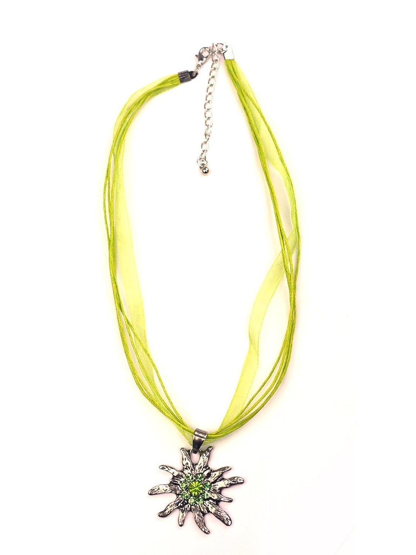 Trachten Halskette Edelweiß Strass grün