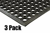 (3) Erie Tools 3x5 Rubber Drainage Floor Mat 36in. x 60in. Anti-Fatigue Anti-slip