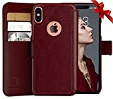 LUPA iPhone Xs Max Wallet case, Durable and Slim, Lightweight with Classic Design & Ultra-Strong Magnetic Closure, Faux Leather, Burgundy, for Apple iPhone Xs Max