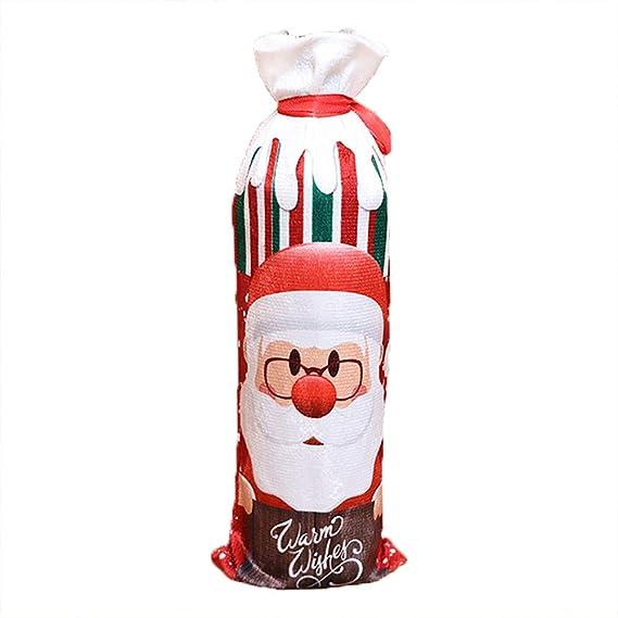Bolsita para Vino tinto, diseño Papa Noel, Renos, Muñeco de Nieve para Decoración