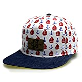 City Hunter Cs371 Denim Anchor 7 Panel Snapback Hats - 3 Colors (381 Anchor White)