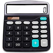 Everplus Calculator, Everplus Electronic Desktop Calculator with 12 Digit Large Display, Solar Battery LCD Display Office Calculator,Black