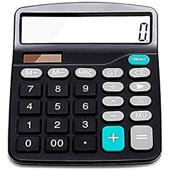 Everplus Calculator Electronic Desktop with 12 Digit Large, Solar Battery Lcd Display Office, Black