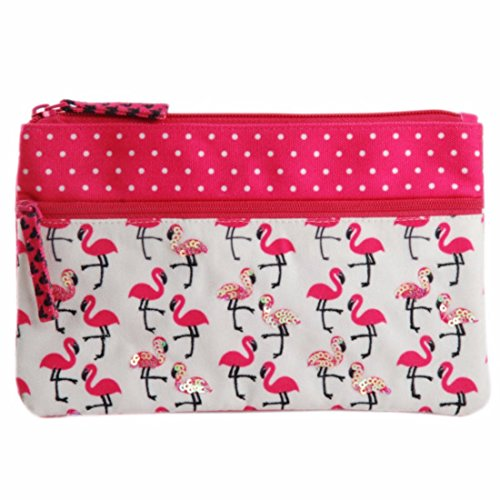 Two zipper multifunction fabric pouch purse case bag organizer travel cosmetic toiletry wallet card holder (Sharp Flamingo)